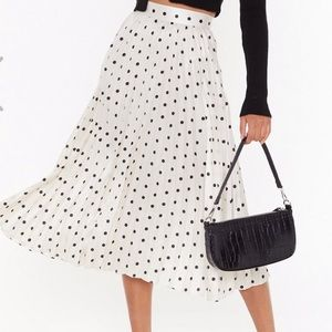 Nasty Gal You're Totally Dot Pleated Skirt